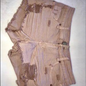 Pants - Pink distressed denim shorts